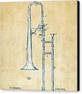 Vintage 1902 Slide Trombone Patent Artwork Canvas Print by Nikki Marie Smith