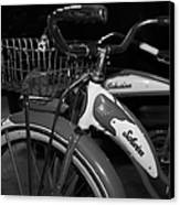 Vintage 1941 Boys And 1946 Girls Bicycle 5d25760 Square Black And White Canvas Print by Wingsdomain Art and Photography