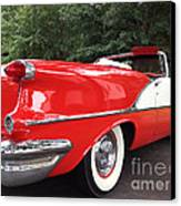 Vintage American Car - Red And White 1955 Oldsmobile Convertible Classic Car Canvas Print by Kathy Fornal