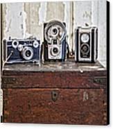 Vintage Cameras At Warehouse 54 Canvas Print by Toni Hopper