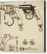 Vintage Colt Revolver Drawing Canvas Print by Nenad Cerovic