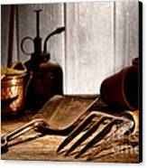 Vintage Gardening Tools Canvas Print by Olivier Le Queinec