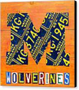 Vintage Michigan License Plate Art Canvas Print