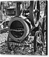 Vintage Steam Tractor Black And White Canvas Print by Douglas Barnard
