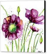 Violet Poppies Canvas Print by Annie Troe