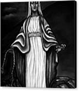 Virgen Mary In Black And White Canvas Print