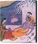 Vishnu And Lakshmi Float Across Cosmos Canvas Print by Photo Researchers