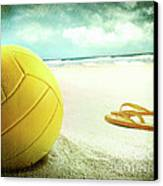 Volleyball In The Sand With Sandals Canvas Print by Sandra Cunningham