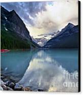 Waiting For Sunrise At Lake Louise Canvas Print by Teresa Zieba