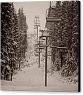 Waiting Ski Lifts Canvas Print by Cari Gesch