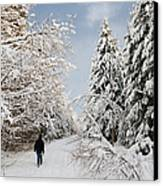 Walk In The Winterly Forest With Lots Of Snow Canvas Print by Matthias Hauser