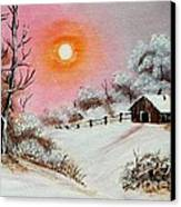 Warm Winter Day After Bob Ross Canvas Print