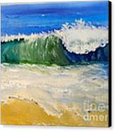 Watching The Wave As Come On The Beach Canvas Print by Pamela  Meredith