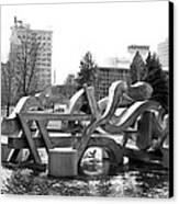 Water Sculpture In Spokane Canvas Print by Carol Groenen