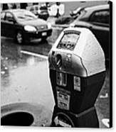 water soaked coin and credit card parking meter on the streets of downtown Vancouver BC Canada Canvas Print by Joe Fox