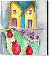 Watercolor Hamsa  Canvas Print by Linda Woods