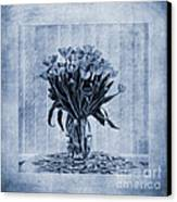 Watercolour Tulips In Blue Canvas Print by John Edwards