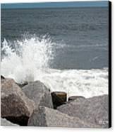 Wave Breaks On Rocks Canvas Print by Tammy Wallace