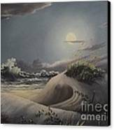 Waves And  Moonlight Canvas Print