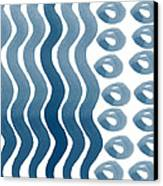 Waves And Pebbles- Abstract Watercolor In Indigo And White Canvas Print by Linda Woods