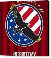 We Remember 911 Patriot Day Retro Poster Canvas Print by Aloysius Patrimonio