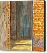 Weathered Wall With Doorway Canvas Print by Bav Patel
