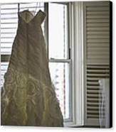 Wedding Dress And Veil By The Window Canvas Print by Mike Hope
