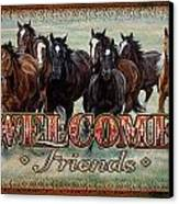 Welcome Friends Horses Canvas Print