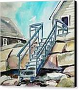 Wells Beach Beach Stairs Canvas Print by Scott Nelson