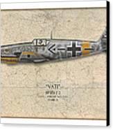 Werner Molders Messerschmitt Bf-109 - Map Background Canvas Print by Craig Tinder