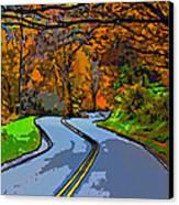 West Virginia Curves 2 Line Art Canvas Print