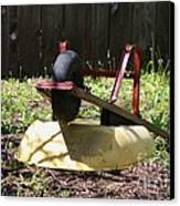 Wheel Barrow In A Yard Canvas Print by Robert D  Brozek