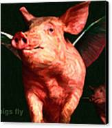 When Pigs Fly - With Text Canvas Print by Wingsdomain Art and Photography