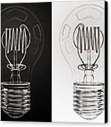 White Bulb Black Bulb Canvas Print