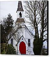 White Church With Red Door Canvas Print by Elena Nosyreva