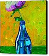 White Peony Into A Blue Bottle Canvas Print