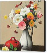 White Vase And Red Box Canvas Print by Felix Elie Tobeen