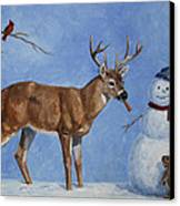 Whitetail Deer And Snowman - Whose Carrot? Canvas Print