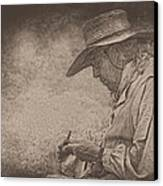 Whittling Canvas Print by Pat Abbott
