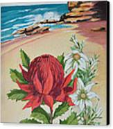 Wildflowers And Headland Canvas Print