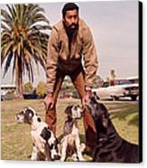 Wilt Chamberlain With Dogs Canvas Print by Retro Images Archive