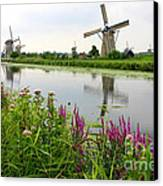 Windmills Of Kinderdijk With Wildflowers Canvas Print by Carol Groenen