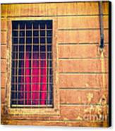 Window With Grate And Red Curtain Canvas Print by Silvia Ganora