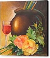 Wine And Poppies Canvas Print by Beverly Martin
