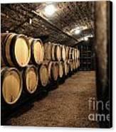 Wine Barrels In A Cellar. Cote D'or. Burgundy. France. Europe Canvas Print by Bernard Jaubert