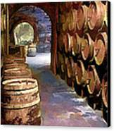 Wine Barrels In The Wine Cellar Canvas Print by Elaine Plesser