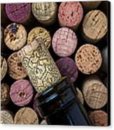 Wine Bottle With Corks Canvas Print