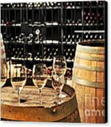 Wine Glasses And Barrels Canvas Print