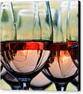 Wine Glasses Filled With Mount Hood Canvas Print by Cari Gesch