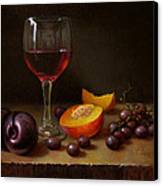 Wine Peach And Plums Canvas Print by Timothy Jones